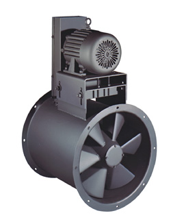 Industrial adjustable pitch vaneaxial and tubeaxial fans.